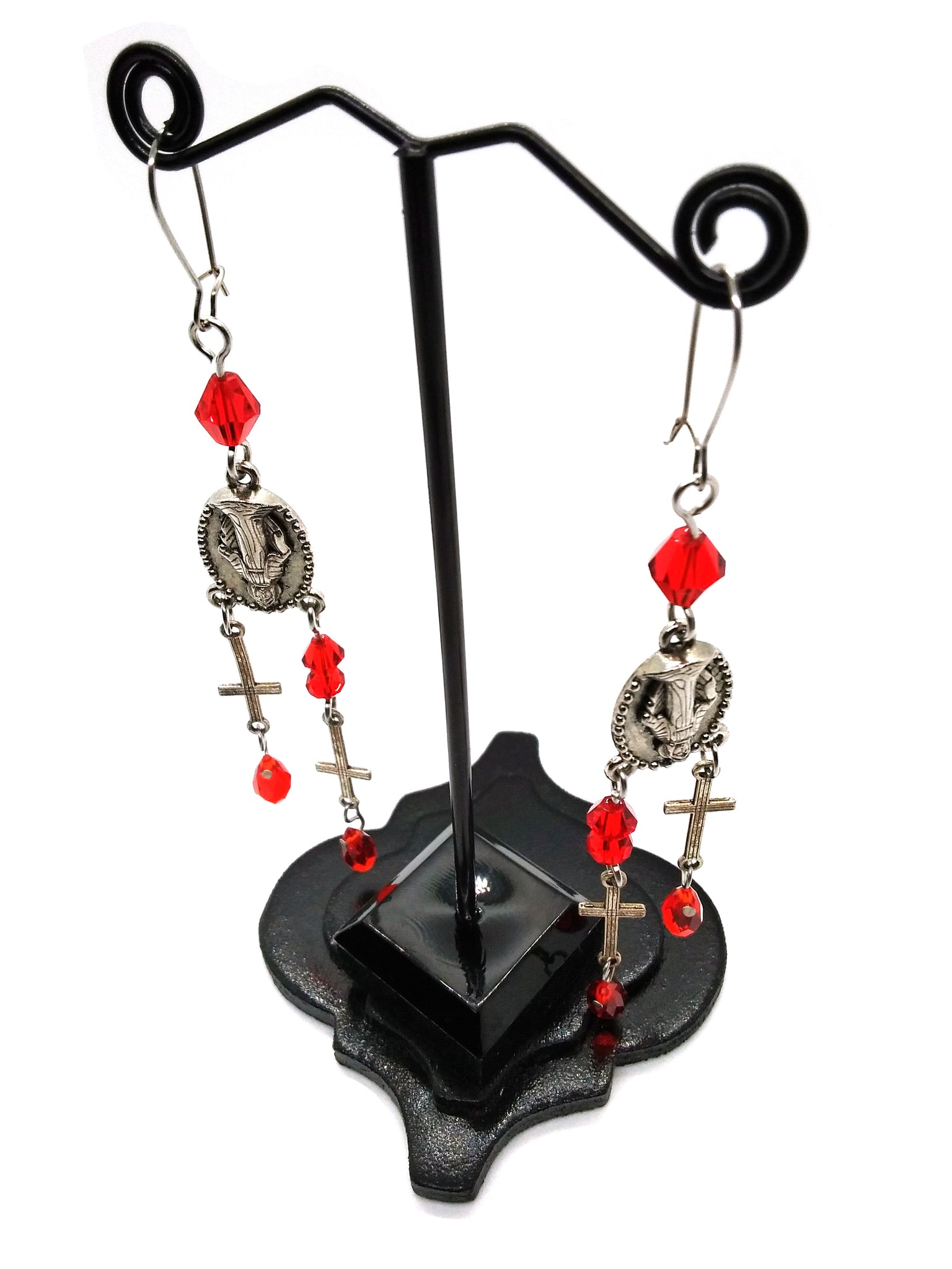 Goth Earrings - Bleeding Cross