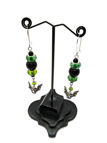 Goth Earrings - Green Bat