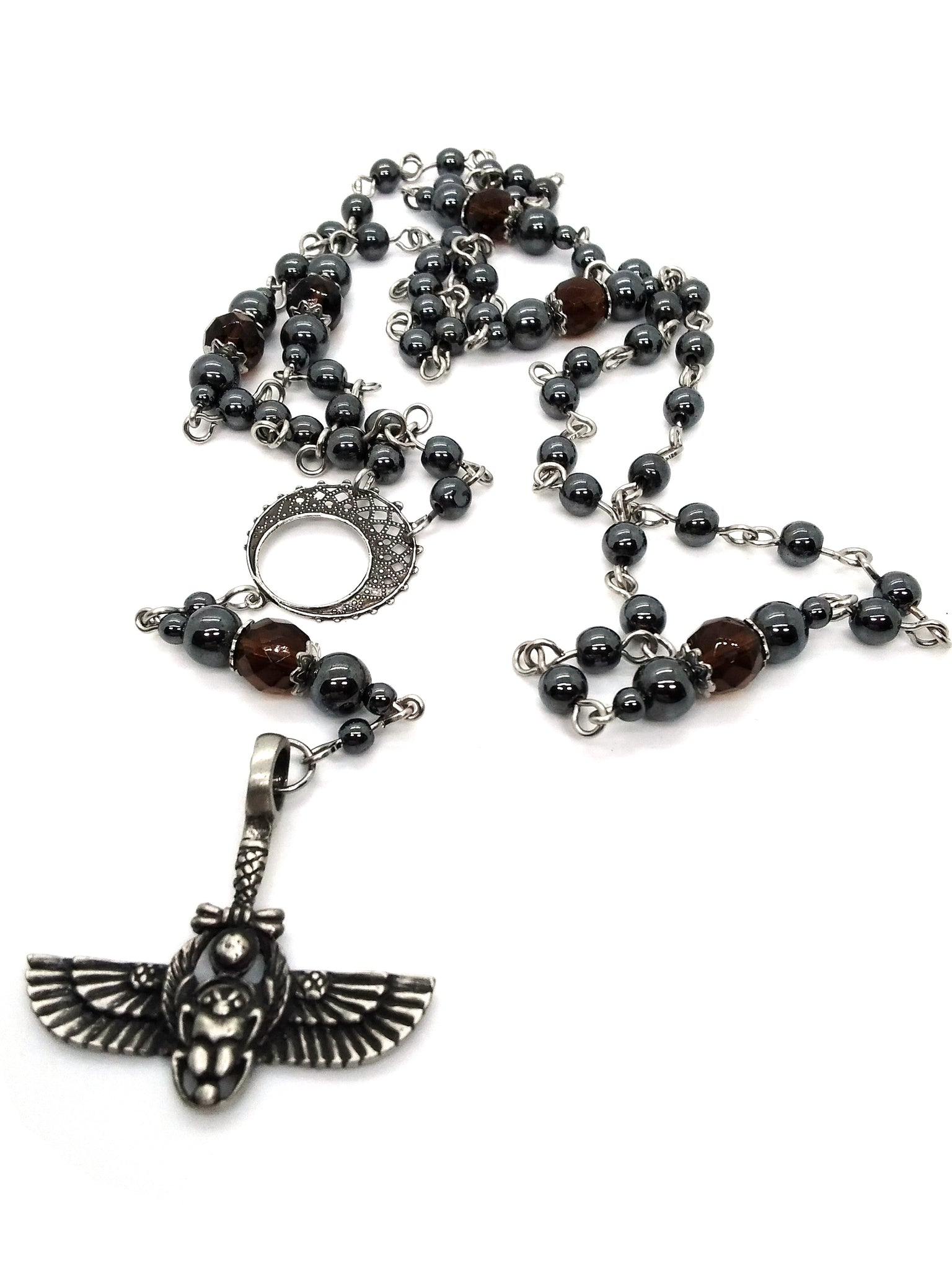Goth Rosary - Winged Scarab