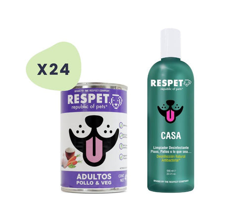 Pack Respet 24 Latas Pollo Perro y 1 Desinfectante PACK The Respect Co.