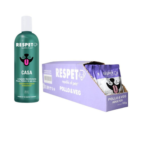 Pack Respet 30 Sobres Pollo Perro y 1 Desinfectante PACK The Respect Co.