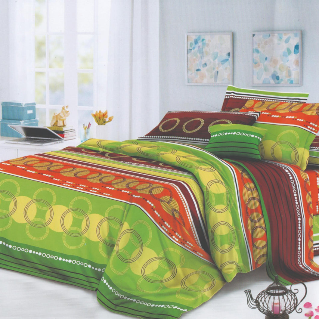 Home Sweet Home 3 in 1 Hotel Quality Garterized Bed Sheet Green Circles (1 Fitted Sheet 2 Pillowcases)