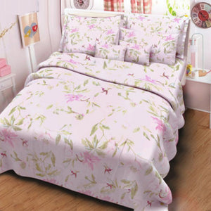 Baby Pink Floral 3 in 1 Premium Hotel Quality Garter Bed Sheet Set