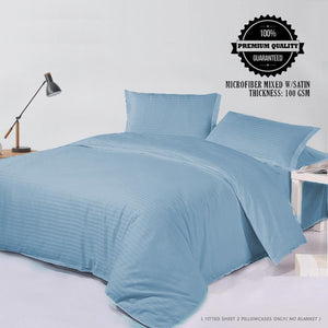 Light Blue Stripes 3 in 1 Premium Hotel Quality Printed Collection Garterized Bed Sheet Set