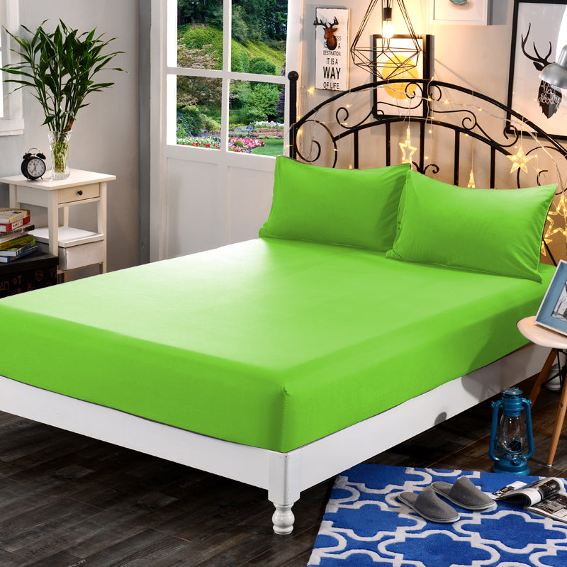 3in1 Plain Green Garterized Fitted Bed Sheet
