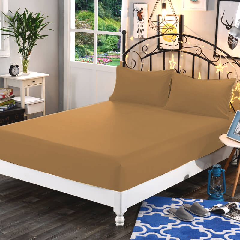 Plain Mocha 3 in 1 Collection Garterized Bed Sheet Set (1 Fitted Sheet 2 Pillowcases)