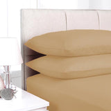 Plain Light Brown 3 in 1 Bed Sheet Set (1 Fitted Sheet 2 Pillowcases)