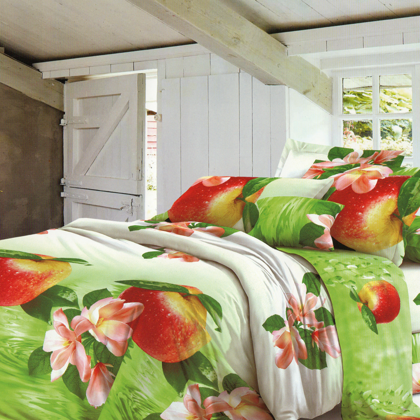 Green Flowers and Apples 3 in 1 Premium Hotel Quality Printed Collection Garterized Bed Sheet Set