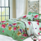 Light Green with Colorful Flowers 3 in 1 Premium Hotel Quality Printed Collection Garterized Bed Sheet Set
