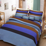 Blue Striped 3 in 1 Premium Hotel Quality Printed Collection Garterized Bed Sheet Set