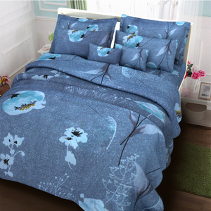 Blue with Flower 3 in 1 Premium Hotel Quality Printed Collection Garterized Bed Sheet Set