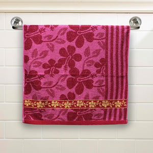 Fuschia Floral Large Size Body Bath Towel High Quality 100% Cotton Water Absorbent