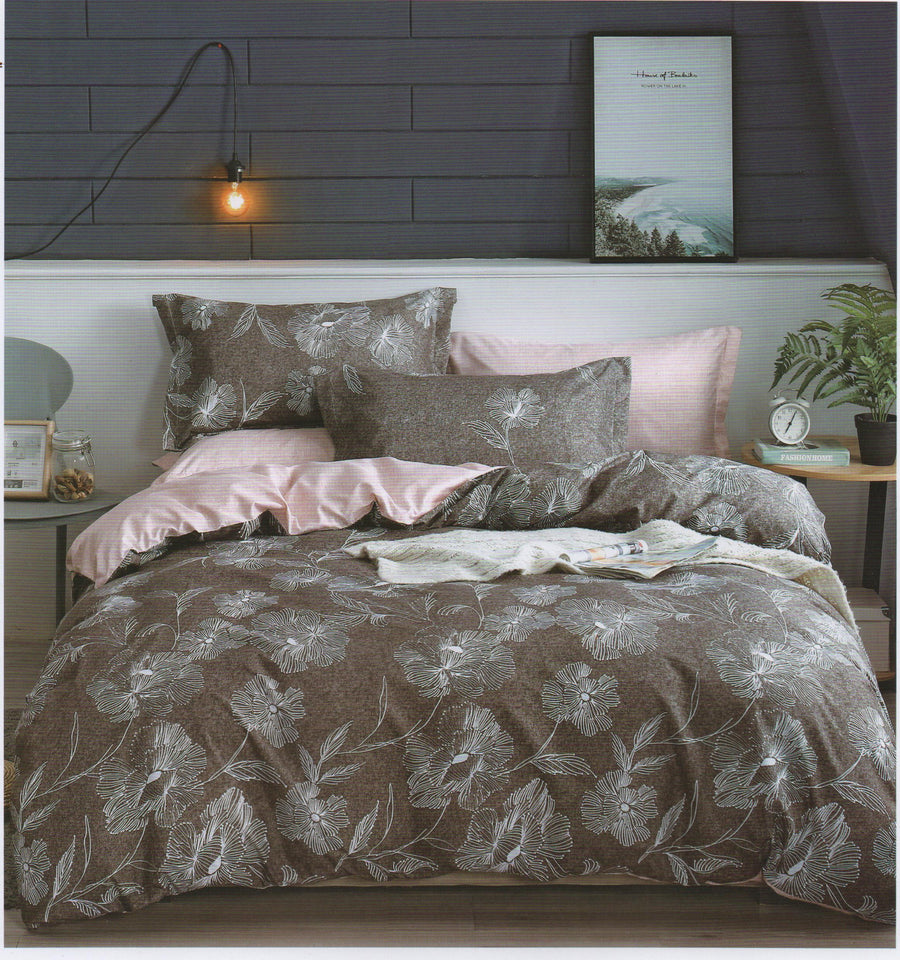 Home Sweet Home Bedsheet Printed Bed sheet Collection 3in1 Bedding Set ( 2 pillowcases and 1 fitted Sheet ) Brown Leaves