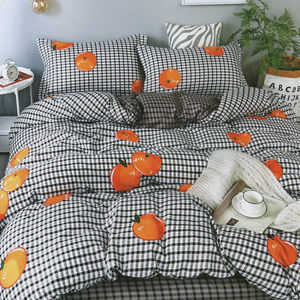 Home Sweet Home Checked Oranges Bedsheet Printed Bed sheet Collection 3in1 Bedding Set ( 2 pillowcases and 1 fitted Sheet )