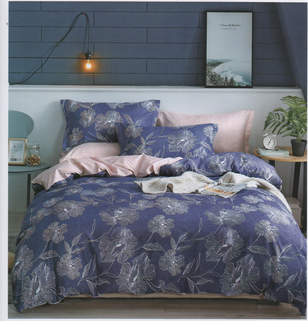 Home Sweet Home Bedsheet Printed Bed sheet Collection 3in1 Bedding Set ( 2 pillowcases and 1 fitted Sheet ) Blue Leaves
