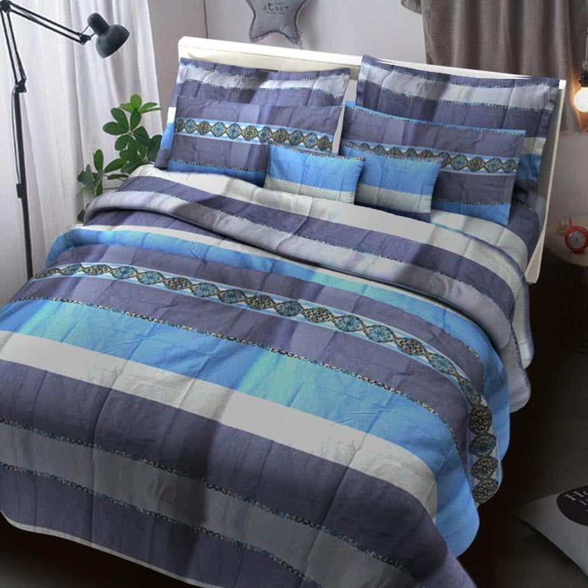 Home Sweet Home Blue Striped Bedsheet Printed Bed sheet Collection 3in1 Bedding Set ( 2 pillowcases and 1 fitted Sheet )