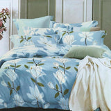 Blue White Flower 3 in 1 Premium Hotel Quality Printed Collection Garterized Bed Sheet Set