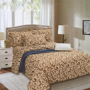 Brown Paisley 3 in 1 Bed Sheet Set Cotton Bedding Printed Collection