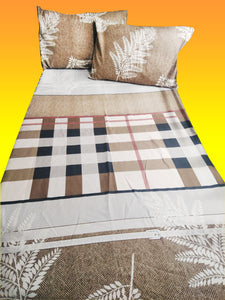 Premium Cotton Brown Leaves and Checked 3 in 1 Bed Sheet Set (1 Full Garter Sheet 2 Pillowcases)