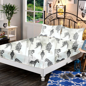 Premium Cotton Black & White Animals 3 in 1 Bed Sheet Set (1 Full Garter Sheet 2 Pillowcases)