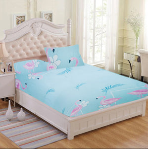Sky Blue Leaves & Flamingo 3 in 1 Bed Sheet Set (1 Full Garter Sheet 2 Pillowcases)