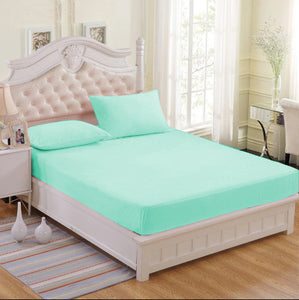 Premium Limited Collection Mint Green Plain Bedsheet 3 Piece Bedding Set (1 Fitted Bedsheets with 2 Pillowcases)