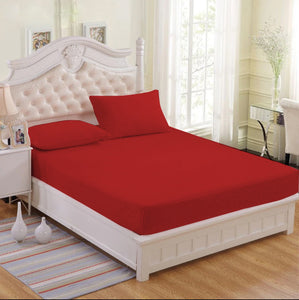 Premium Red Plain 3 in 1 Hotel Quality Collection Garterized Bed Sheet Set (1 Fitted Sheet 2 Pillowcases)