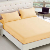 Cream 3 in 1 Premium Hotel Quality Plain Collection Garterized Bed Sheet Set
