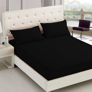 Home sweet Home 3 in 1 Bed Sheet Premium Quality Plain Garterized Bed Sheet Set (1 Fitted Sheet and Free 2 Pillowcases) - Black