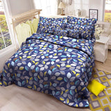 3 in 1 Blue Leaves Bed Sheet Set Cotton Bedding Printed Collection for Bedroom (1 Fitted Sheet 2 Pillowcases)