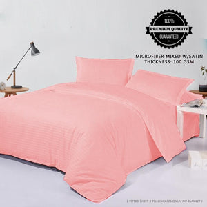 Baby Pink 3 in 1 Premium Hotel Quality Stripes Collection Garter Bed Sheet Set