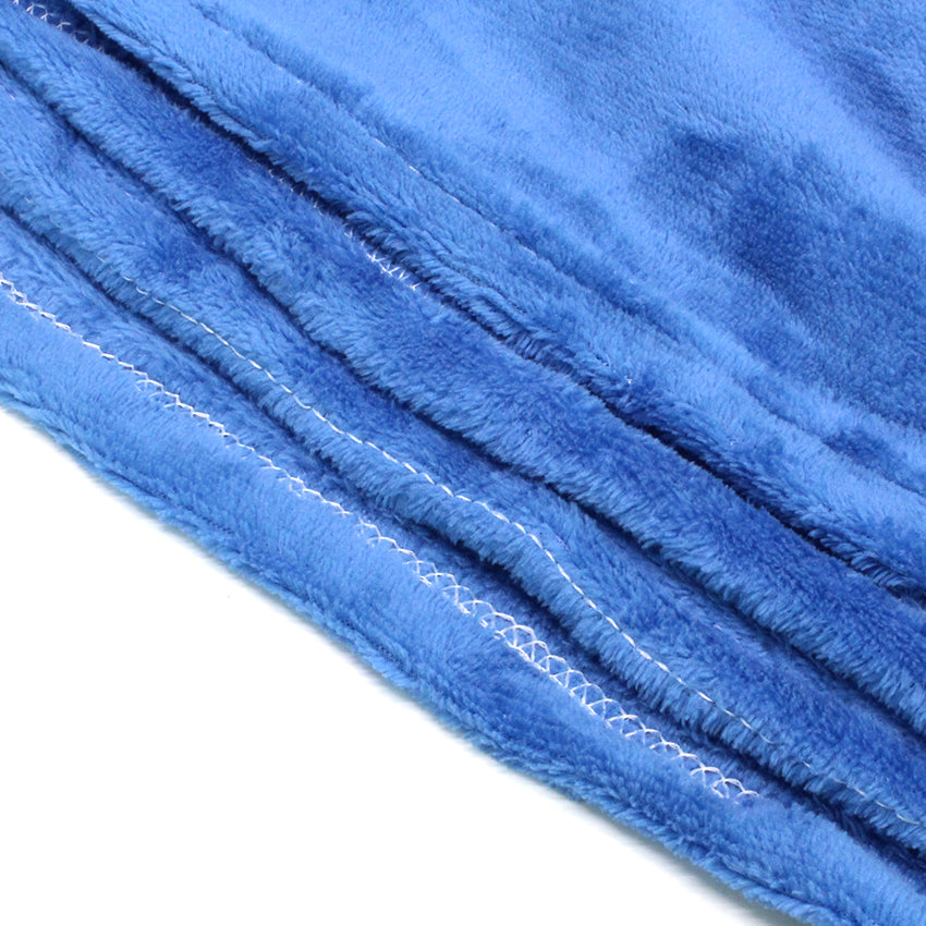 Home Sweet Home Twin Size Coral Fleece Blanket Plain - Blue
