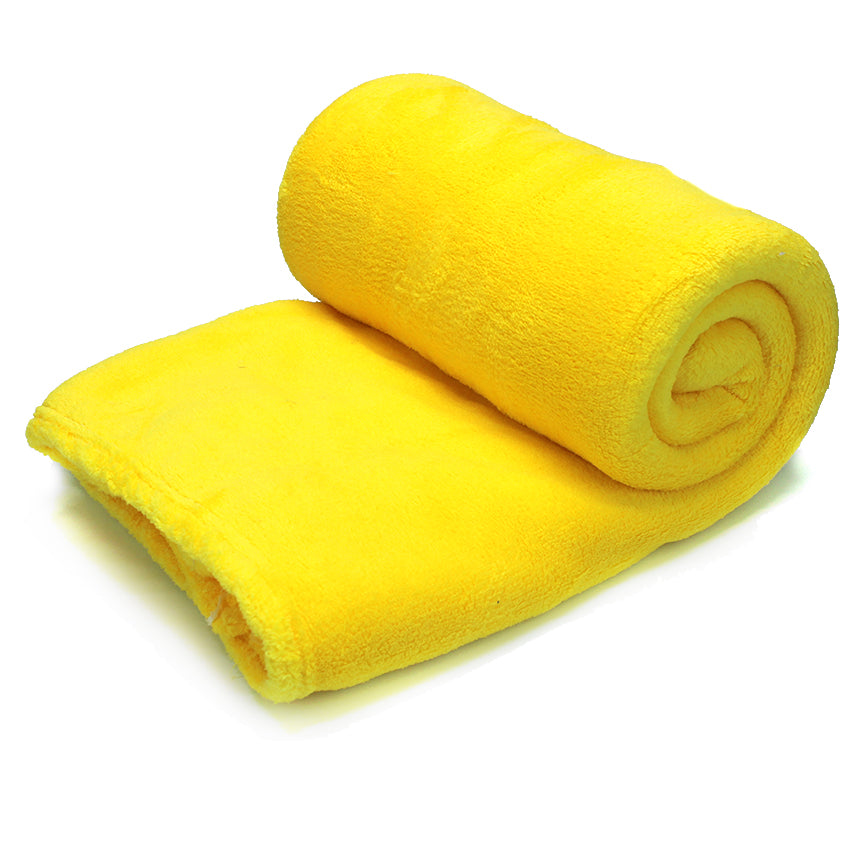 Home Sweet Home Twin Size Coral Fleece Blanket Plain - Yellow