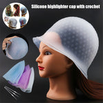 Reusable Silicone Dye Hat Cap for Hair Color Highlighting Hairdressing with Needle