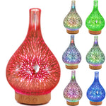 3D Fireworks LED Glass Aroma Essential Oil Diffuser