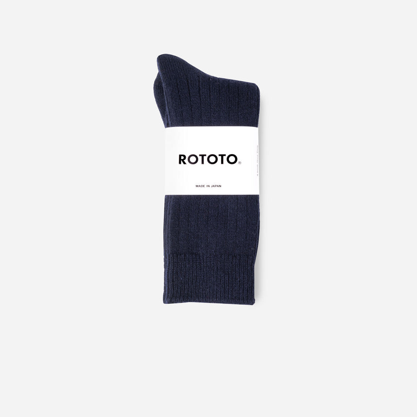 Rototo Cotton Wool Ribbed Crew Socks