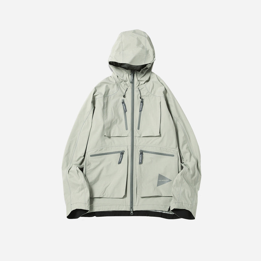 and wander E Vent Dropping Pocket rain jacket gray