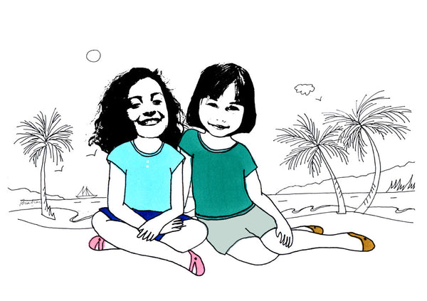 2 girls at the beach illustration