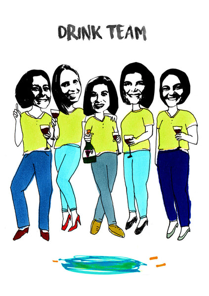 Group of girlfriends Illustration