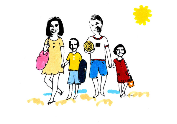Family of 4 walking at the beach