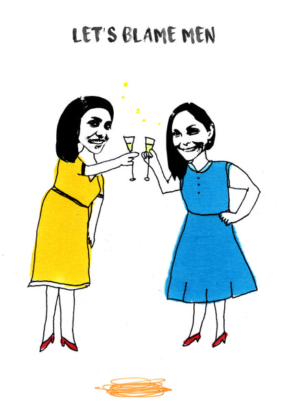 2 friends drinking illustration