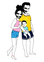 Couple with baby llustration