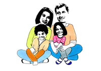 Family of 4 custom illustration