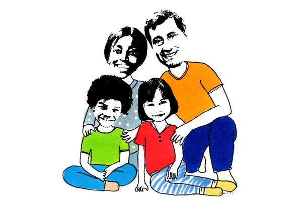 Family of 4 sitting fun illustration