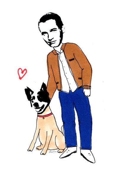 Man and dog standing drawing