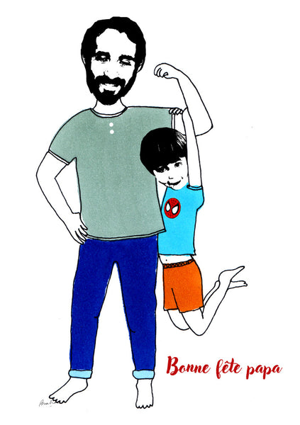 Father and son fun illustration