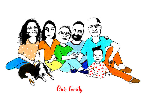Family of 7 Illustration
