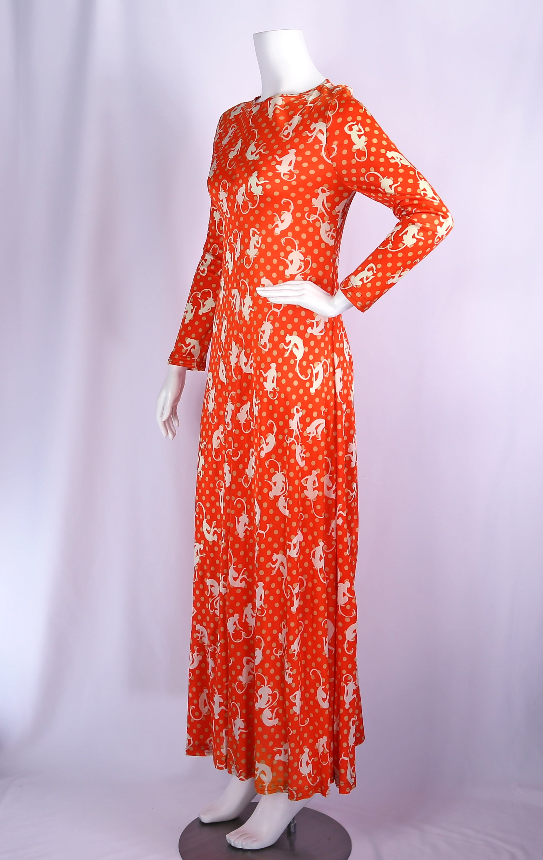 1970s Maxi Dress with Monkey Print