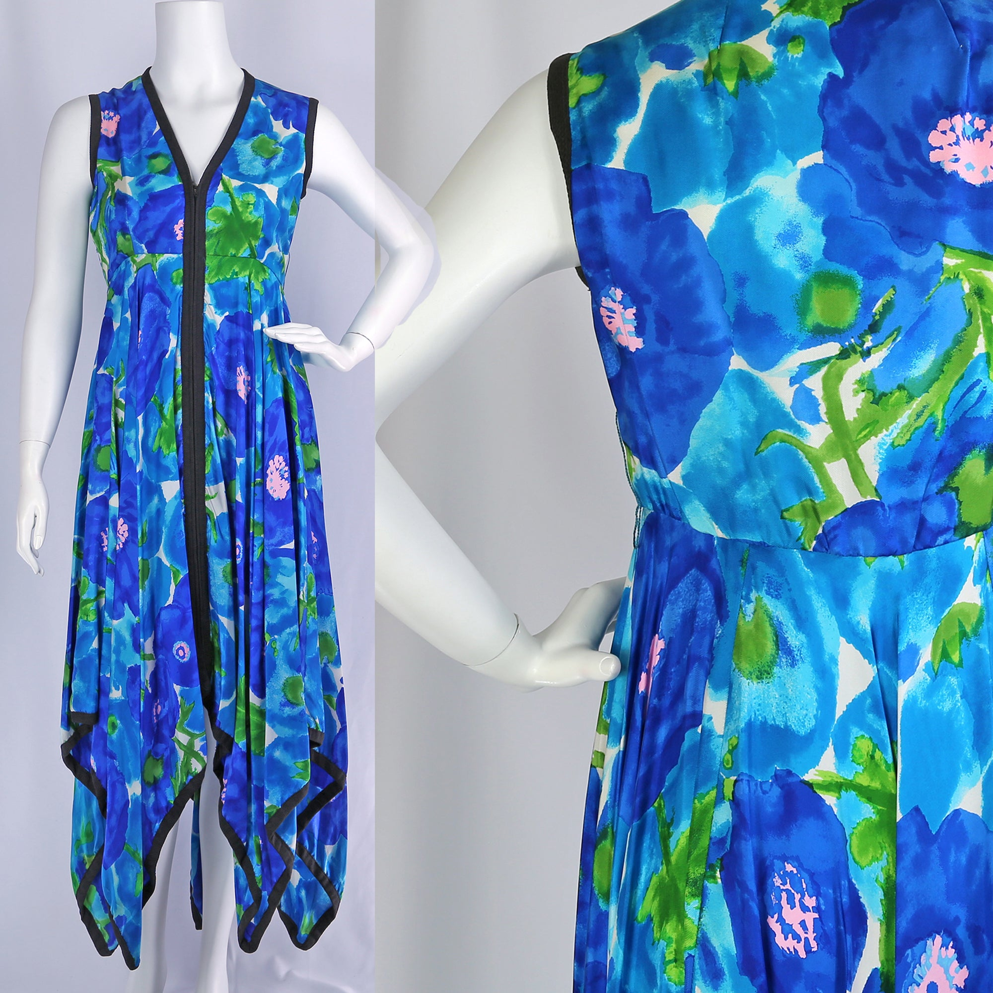1970's Floral Hankie Hem Dress⁠
