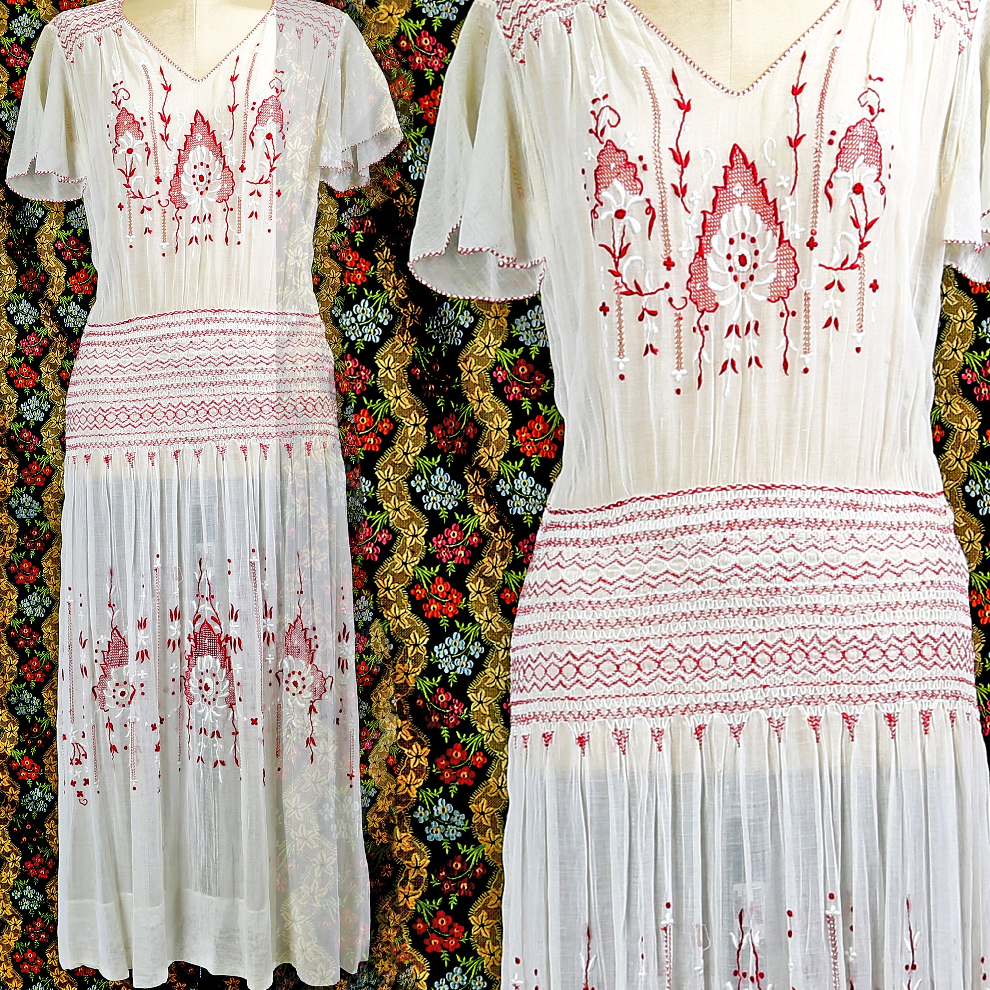 1920s Hungarian Embroidered Dress